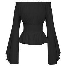 Women Girls Gothic Renaissance Medieval Shirt Off Shoulder Blouse Top Costume