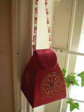 Austrian bordeaux perles broderie velours Boîte à bijoux