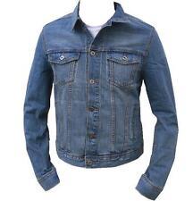 Mens Stonewash Denim Jacket Casual Denim Jean Trucker Western Vintage S M L XL
