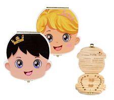 Cofanetto in legno colorato 10751 porta dentini da latte per bambino e bambina