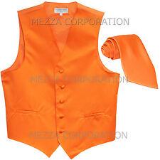 New Men's Vesuvio Napoli Tuxedo Vest Waistcoat Necktie prom wedding party Orange