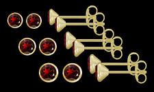 ECHT GOLD *** 1 Paar Granat Ohrstecker, wählbar in 3,5 - 4 - 4,5 mm Ø