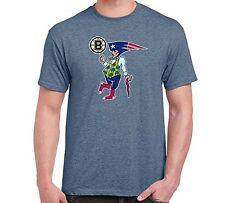 New BOSTON Fan Sport Teams Guy Mens Heather Indigo T-SHIRT Combined Logo Mashup