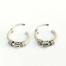 Genuine 925 Silver Filled Bali Endless Hoop Earrings 4 Style 10 mm TI0016