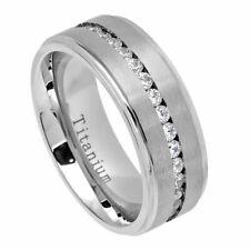 8mm Titanium Band White IP Ring Eternity Style Cubic Zirconia CZs / Gift box