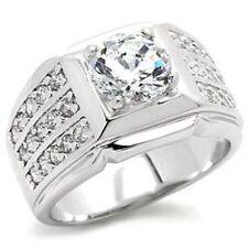 9X024PB conjunto de canal Mans Solitario Anillo de hombre de diamantes simulados todas las tallas Signet