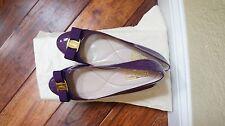 $560 Ferragamo Varina Grape Flats Patent Gold tone NIB 6//8/8.5/9/9.5M GORGEOUS!