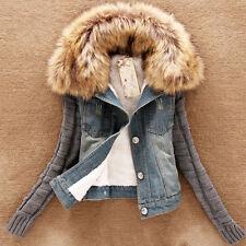 vaqueros chaqueta blazer de punto cuello piel Top Entretiempo Azul dt55