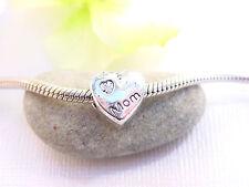 Cute Silver Tone Heart Love Mom Charm Slider Bead Spacer fits Euro Chain Bangle