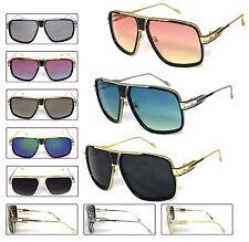 Mens Large Square Aviator Metal Bar Retro Fashion Sunglasses Polyucarbonate Lens