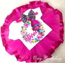 Trolls Poppy Pink Tutu Shirt Headband 3rd Baby First Birthday Girl Outfit Party