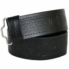 Brand New Black Leather Celtic Embossed Kilt Belt Adjustable For Tartan Kilt