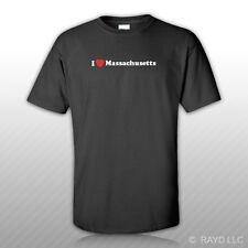 I Love Massachusetts T-Shirt Tee Shirt S M L XL 2XL 3XL Cotton