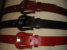 Jeansgürtel Damengürtel  4 cm mit bezogener  Designerschließe schwarz/rot/braun