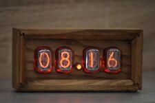 "IN-12 ""Box"" Retro Vintage  Nixie Tube Clock. Handmade Golden Oak"