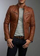 Men's Real Lambskin Tan Brown Leather Motorcycle Jacket Slim fit Biker Jacket