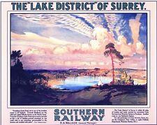 Vintage Southern Frensham Ponds Surrey Railway Poster A3/A2/A1 Print