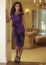 Purple Plumes Dress Midnight Velvet Sheath Career Dinner Party Cruise Church 6