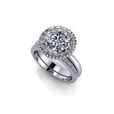 14k White Gold Band Bridal 2.5 Ct Diamond Engagement Ring Sets Size 6 7 8 9 JHM