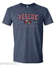 Amphibious Outfitters Scuba Diving T-Shirt - Rescue Diver - Heather Navy Blue