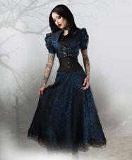 Gothique Steampunk jupe dentelle noir bleu saphir bleu jupe 36 38 40 42 44 46