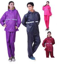 Adults Waterproof Rain Suit Jacket Trousers Sets riding  Mens Ladies Rain Coats