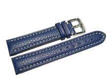 Uhrenband - Leder - gepolstert - genarbt - blau - 18,20,22,24 mm