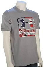 Under Armour Big Flag Logo T-Shirt - True Grey Heather / White - New