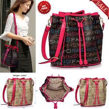 Ladies Drawstring Shoulder Bag Women Faux Leather Designer Handbags Large New