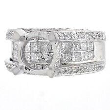 14k Semi Mount Diamond Ring Setting 2.87 CTS Invisible Princess Bridge Setting