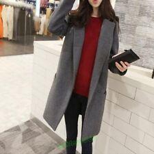 Korean Womens Slim Fit Wool Blend Outwear Overcoat Trench Long Coat Jacket Size