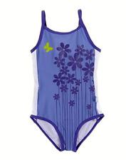 White Soda Girls Purple Flower & Butterfly One Piece, Swimwear, Bathers, Swimmer