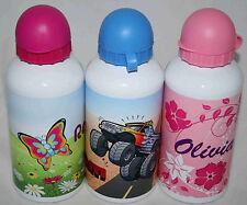 Personalised 500ml Water Sports Bottle WHITE Aluminium KIDS drink school LOT2