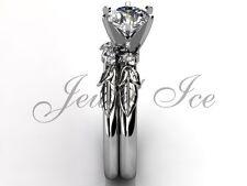 14k White Gold Diamond Unusual Unique Floral Engagement Ring Set ER-1054-1