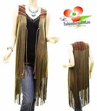 Boho Western Vintage Hippy Faux Suede Leather Fringe Olive Vest Cardigan S M L