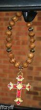 In Car Wooden Beads & Burgundy Goldtone Christian Religious Holy Cross Pendant
