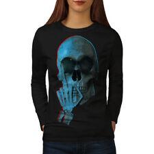 Middle Finger Funny Skull Women Long Sleeve T-shirt NEW | Wellcoda