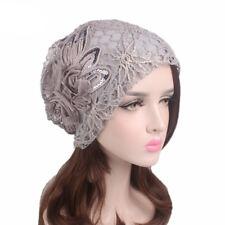 New Women Hat Flower Hijab Lace Cotton Beanie Chemo Cap Full Headwear Hijab Wrap