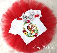 Baby Moana Princess Red Girl 1st First Birthday Tutu Outfit Shirt Set sq