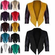 Womens Ladies PVC 3/4 Sleeve Waterfall Open Front Crop Coat Blazer Top Plus Size