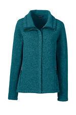 Lands End Women's Sweater Fleece Jacket Dark Teal Heather New