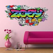 3D personnalisé graffiti nom fissuré Art Mural Autocollant Décalque PGN22
