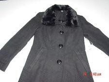 NWT Womens Classy Elegant Black Coat Faux Fur Trim Collar Dressy warm fashion
