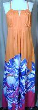 New Sun Dress ICE Halter Style Strappy Maxi Sundress Orange Floral SZ 6 8 10 12