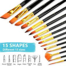 15Pc Paint Brushes Set Nylon Hair Variety Style Short Rod Oil Acrylic Watercolor