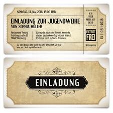 Jugendweihe Einladungskarten Einladung Jugendfeier Vintage Eintrittskarten Weiß