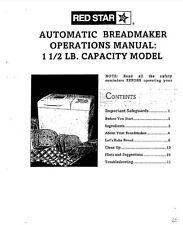 Red Star Bread Machine Manual Bm635, Bm712A, Bm735, Ers100, Ers150A, Ers150B