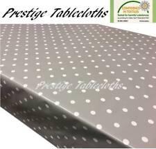 Mushroom Grey Polka Dot Spots PVC Vinyl Wipe Clean Tablecloth Oilcloth ALL SIZES