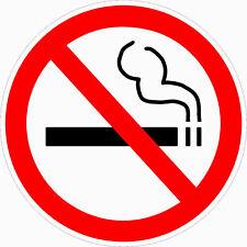 """2 CLEAR - No Smoking Decal Sticker 3.5""""dia outdoor durable window door stop logo"""