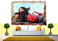 DISNEY CARS MCQUEEN Rimovibile Murale 3d Adesivo Parete Vista rotte POSTER VINILE 48